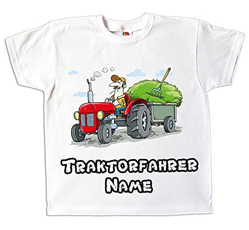 Kinder T-Shirt Traktor Traktorfahrer weiß oder grün farbig Bedruckt mit Wunschname Geschenk für Jungen und Mädchen (104)