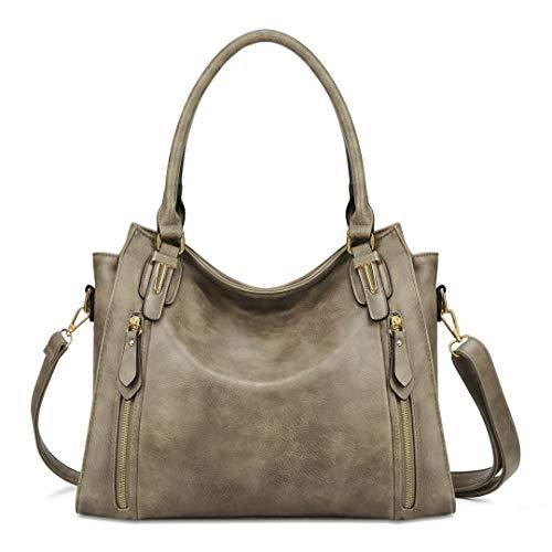 Plambag Faux Leather Handbag for Women Zipper Purse Tote Bag Dark Beige