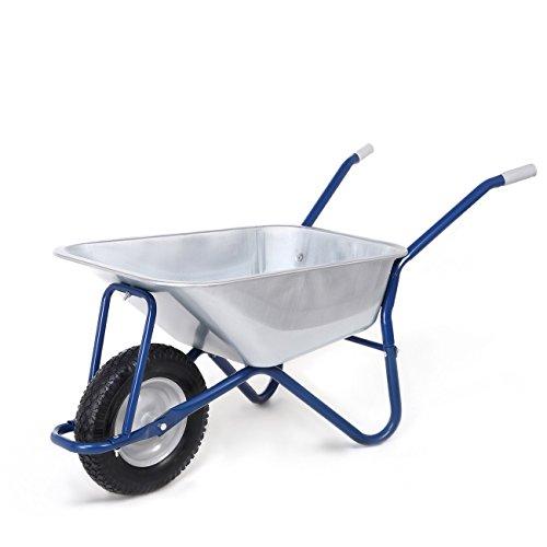 MAXCRAFT Brouette de Chantier 200 kg 100 L Chariot Transport Jardin Pneus avec Chambre à Air Poignée en Caoutchouc Dur - Bleu