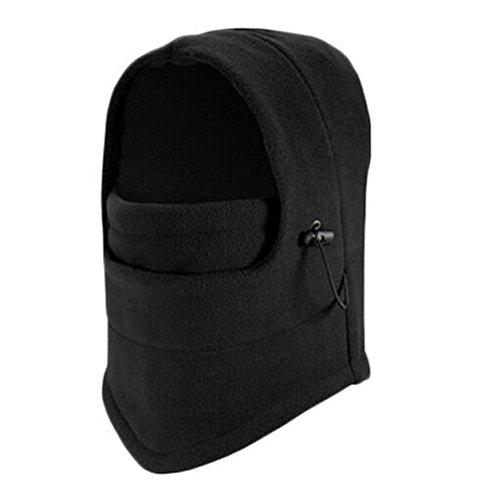 Pasamontañas Invierno Fossen Balaclava Térmico Fleece Máscara para Ciclismo Moto Deportes Ski para Hombre Mujer (Negro)