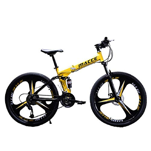 Folding Mountain Bike, Elevin 26in/24in Folding Mountain Bike Shimanos 21 Speed Bicycle Full Suspension MTB Bikes (Yellow, Tire Size: 26 inches)