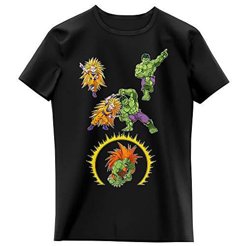 Okiwoki T-Shirt Enfant Fille Noir Parodie DBZ - Street Fighter - Hulk - Sangoku, Hulk et Blanka - Fusion bestiale !! (T-Shirt Enfant de qualité Premium de Taille 9-10 Ans - imprimé en France)
