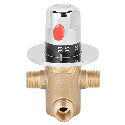 Fdit Tempcontrol Thermostatisches Mischventil Messingmischventil 3-Wege-Thermostat G1/2-Außenanschlüsse Solarenergieventil Wasserhahn Einstellbare Wassertemperatur Verbrühungsschutz MEHRWEG VERPAKUNG