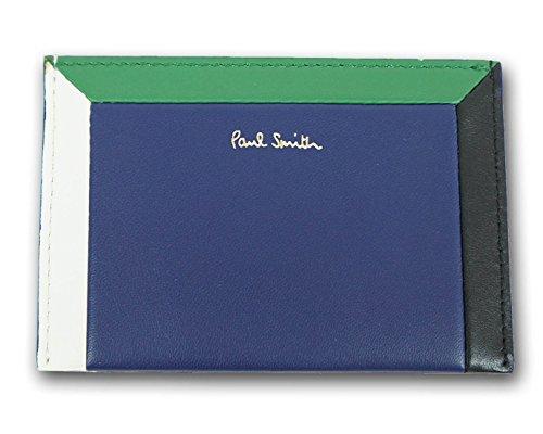 (ポールスミス)Paul Smith 羊革 カラーブロックフレーム パスケース ブルー メンズ 青