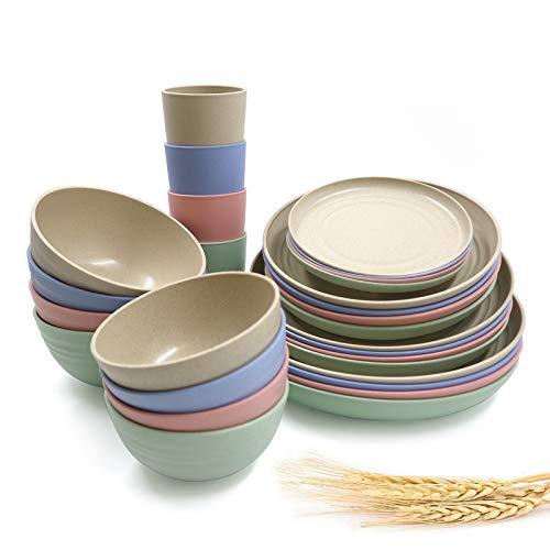 Juego de vajilla de paja de trigo irrompible, juego de 28 piezas, juego de vajilla para picnic, fiesta, barbacoa, regalo de boda o camping (4 colores)