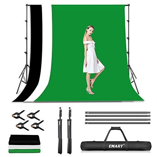 EMART Photo Video Studio Backdrop Stand Kit, 8.5x10ft Adjustable Photography Green Screen Support System with 3 Muslin Backgrounds for Photoshoot (Black White Green)
