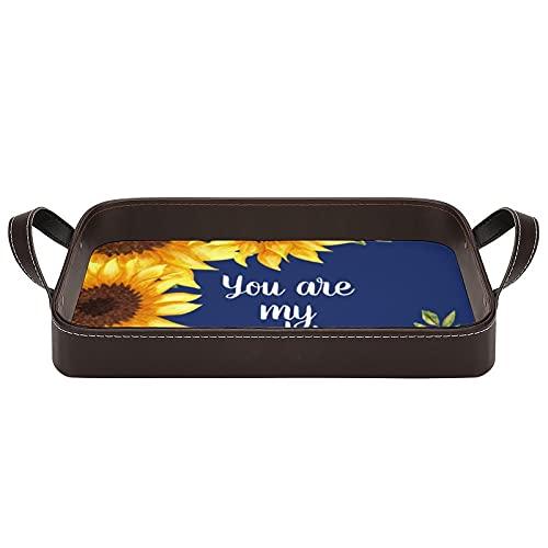 Bandeja decorativa para servir con asas, diseño de girasoles, color azul marino, con texto en inglés 'You are My Sunshine', para café, desayuno, postre