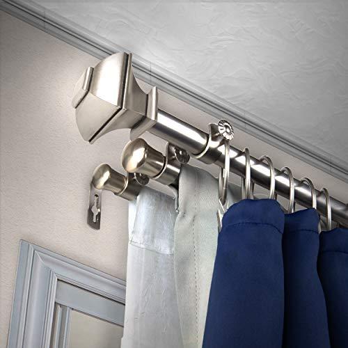 """A&F Rod Décor - Phife 13/16"""" Triple Curtain Rod 66-120 inch - Satin Nickel"""