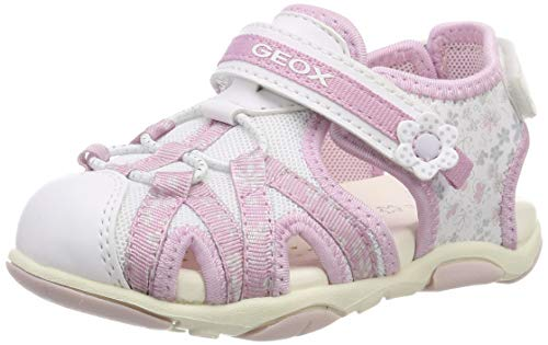 Geox B Sandal Agasim Girl B, Sandalias para Bebés, White/Pink C0406, 26 EU