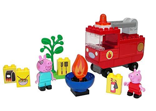 BIG-Bloxx Peppa Pig - Camion dei pompieri Peppa, set di costruzione Big Bloxx con Peppa e Papa Pig, 40 pezzi, per bambini dai 18 mesi in su