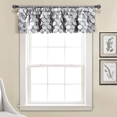 "Lush Decor Lush Décor, Light Gray Gigi Valance Textured Window Kitchen Curtain (Single), 14"" x 70"