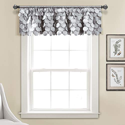 "Lush Decor, Light Gray Gigi Valance Textured Window Kitchen Curtain (Single), 14"" x 70"
