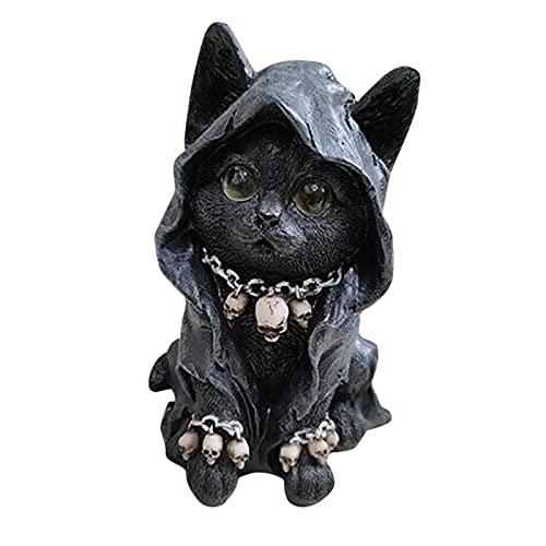 Figura de gato felino, linda figura coleccionable, decoración de Halloween, regalos para amantes de los gatos para mujeres, regalos para gatos, adornos de escritorio para gatos