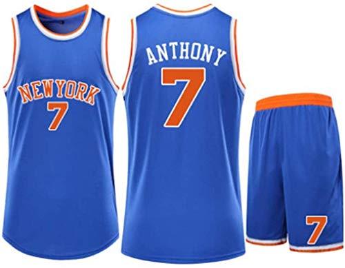 New York Knicks # 7 Carmelo Anthony Set di Maglie da Basket da Uomo - Fan Classic Basket Swingman Jersey Top Senza Maniche Pantaloncini Abbigliamento Sportivo,Blue-XS