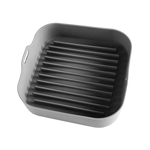 NHBETYS Olla de silicona para freidora de aire, repuesto para revestimientos de papel, 22 x 22 cm, cuadrada, reutilizable, apta para alimentos, accesorios para horno, no más limpieza dura (gris)