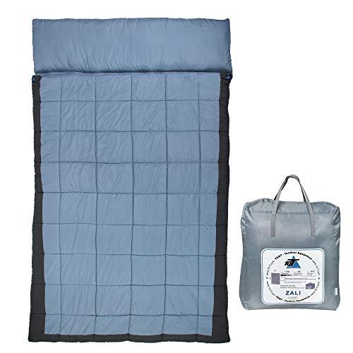 10T Doppel-Schlafsack ZALI DUO -19°C 2 Personen XXL Deckenschlafsack 230x150 Blau / Grau