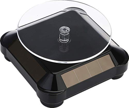 Solar Display Stand Turntable, Battery Double Used Rotating Display for Jewelry Spinner Watch Hobby Collection Shelf 1PC Black