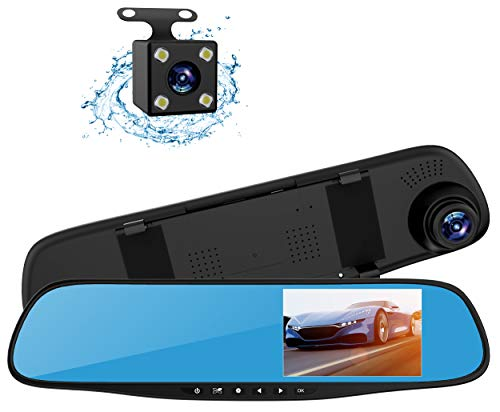 Topsale-ycld 4.3'1080P Dual Lens Car Auto DVR Mirror Dash CAM Recorder + Kit de cámara de visión Trasera
