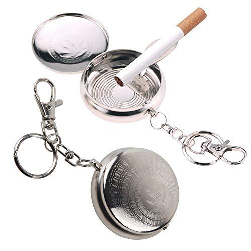 携帯灰皿 喫煙所 キーホルダー アルミ クローム 軽量 防水 持ち運び便利 2個セット
