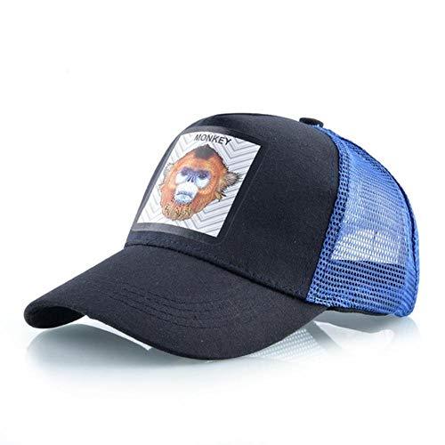 JKFXMN Baseball Cap Stickerei Patch Streetwear Trucker Caps Männer Frauen Aback Mesh Hip Hop Visier Hüte, Dunkelblauer AFFE
