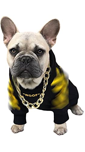PAW STAR Dog Hoodie,Black White Dog Hoodie,Clothes for Bulldogs,Small Dog Sweater,French Bulldog Hoodie(S,Yellow)