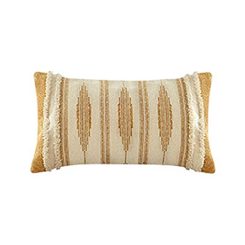 Cushion Covers Throw Pillow Cover Cotton Thread Tufted Stripe Sofa Bedroom Living Room Decorative Pillowcase 50X30Cm Without Core Yellow