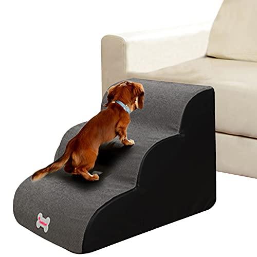 Weichuan Escalier pour animal domestique, à 3marches, antidérapant, en éponge, pour canapé-lit, adapté au chien, chiot et chat, gris, taille L