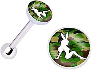 Officially Licensed Camouflage Playboy Girl Stainless Steel Barbell Tongue Ring Body piercing Jewelry bar - 14g