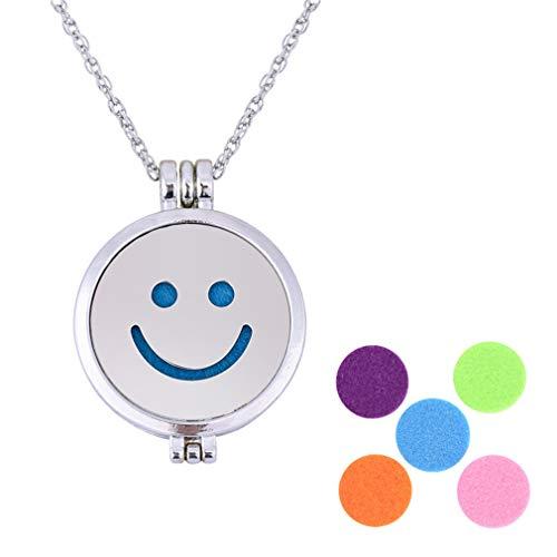 YAZILIND Aromaterapia Aceite Esencial Difusor Colgante Collar Smiley Cara Emoji Luminoso Lockets Clavicle Suéter Cadena Collares Mujeres Joyería Sonrisa