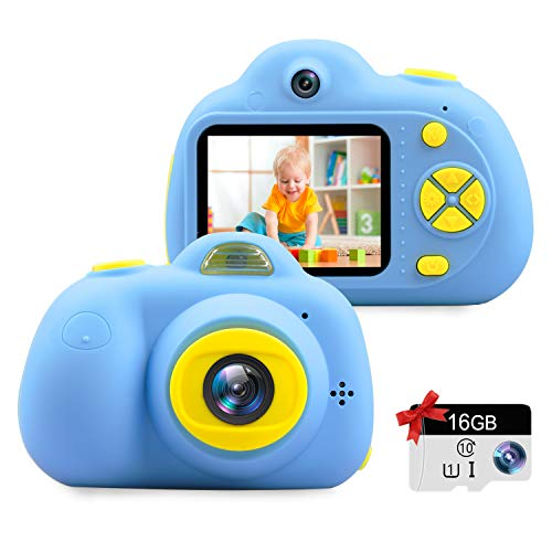 "Kids Camera Gifts for 3-9 Year Old Girls,1080P HD Mini Rechargeable Children Shockproof Digital Front and Rear Selfie Camera Child Camcorder Waterproof 2.0"" LCD Screen (Blue)"