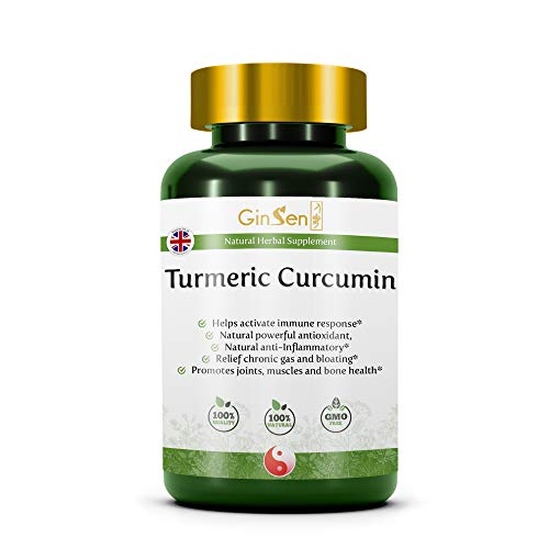 Pure Turmeric Curcumin High Potency Antioxidant & Absorption, Herbal Supplement, Traditional Chinese Medicine by GinSen Made in The UK (100 Grams)