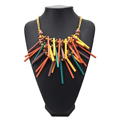 Fattigger Collares para mujeres y mujeres africanas cuentas de madera palo gargantilla cadena babero declaración collar joyería