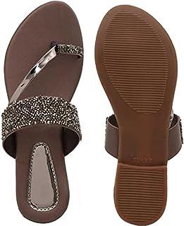 Women Dark Brown Flats Sandal