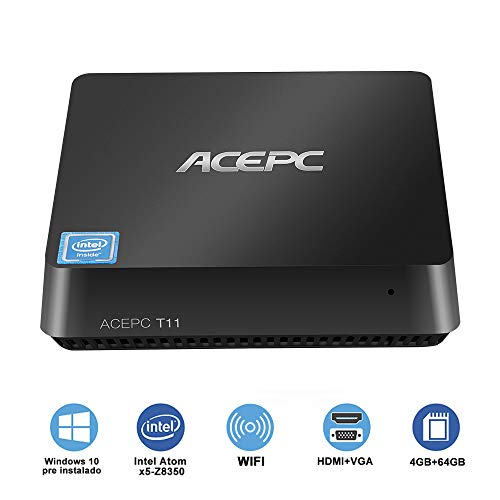 ACEPC T11 Micro Mini PC Intel Atom x5-Z8350 senza ventola Windows 10 Pro(64 bit) Desktop Computer[4GB DDR/64GB EMMC/supporto 2,5'mSATA SSD/Dual Band WiFi/BT 4.2/4K]HDMI + VGA/1000Mbps LAN