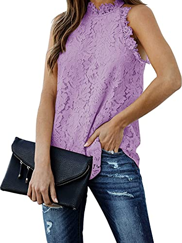 Berryou Women Lace Crochet Hollow Out Tank Tops Casual Blouse Summer Sleeveless Shirts Clubwear 2021 Lavender L