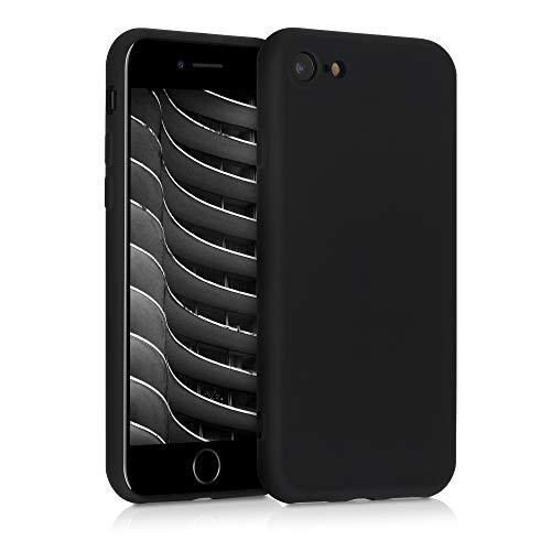 kwmobile Slim Hülle kompatibel mit Apple iPhone 7/8 / SE (2020) - Hülle Silikon Handy - gummiert - Handyhülle Schwarz matt