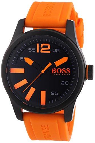 Boss Orange Paris - Reloj de Cuarzo para Hombre, Correa de Silicona Color Naranja