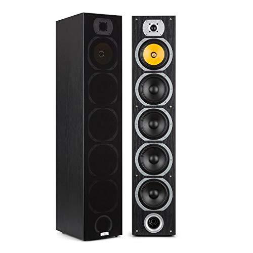 auna V7B - Standlautsprecher, Lautsprecher Boxen, 4-Wege Standboxen, 440 Watt, 3 x 6,5'' Tieftöner, 1 x 6,5'' Subwoofer, 1 x 6,5'' Mitteltöner, 1 x Tweeter, abnehmbare Frontblende, schwarz