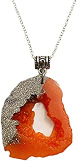 Aga Glitter Embellished Irregular Shaped Handmade Resin Pendant Sterling Silver Necklace for Women - Orange and Silver