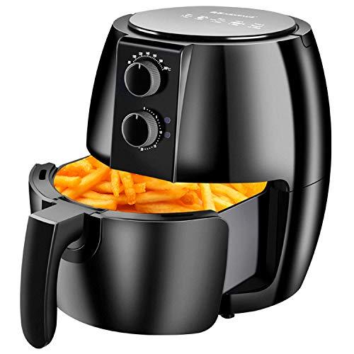 Heißluftfritteuse, Chip-Fritteuse Elektrischer Heißluftfritteusenofen 1350W Vielseitiger Knopf-Timer Und Präzise Temperaturregelung, Spülmaschinenfester Antihaft-Korb (Schwarz)