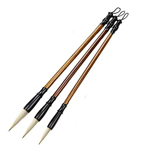 Chinese Calligraphy Brush, Writing Drawing Watercolor Ink Brushes Hubi PaintingKanji Japanese SumiWolf Bamboo Brushes Set for Professional Beginner (White)