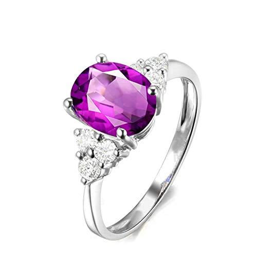 Bishilin Anillo de Plata de Ley 925 para Novia Ajuste Cómodo Forma Redonda Púrpura Oval Cristal Piedra del Zodíaco Anillo de Alianza de Boda de Compromiso de Aniversario Plata Talla: 6,75