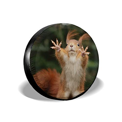 YEGFTSN Tire Cover Squirrel Funny Animal Spare Tire Cover Sun Protector Waterproof Dust-Proof Universal Wheel Cover Fit for Jeep, Trailer, RV, SUV, Truck and Many Vehicle 15' for Diameter 27.5'-29.5'