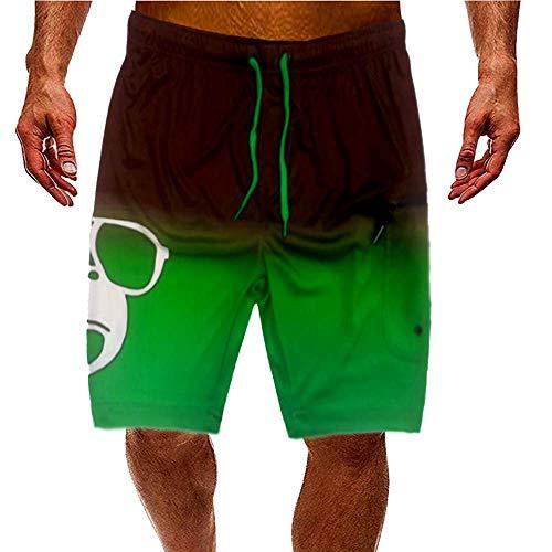 Kahuna Store Shorts de baño Bañador de Hombre Verde Degradado para un Look Surfero Cordón Rojo Bolsillo Lateral con Cierre de Cremallera Cintura elástica Secado rápido para Vacaciones (L)
