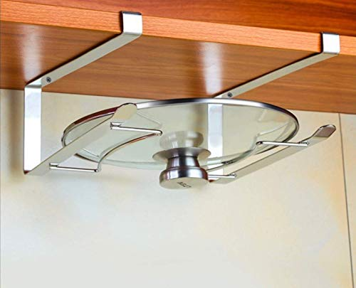 OmniMaster Stainless Steel Kitchen Cabinet Pot Lid Rack Holder Under Cabinet Adjustable Rack While Cooking Extensible Pot Lid Organizer Cutting Board or Chopping Board Holder