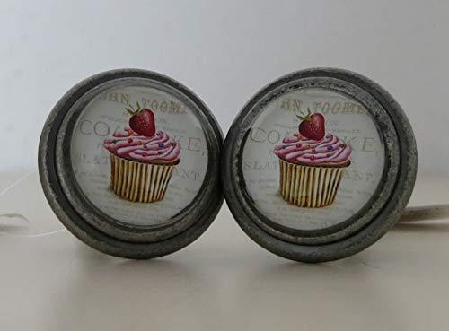 i.stHOME Möbelknopf Cupcake Erdbeere - Nostalgie Knauf Möbelgriff Eisen + Glas - 2er Set Möbelknöpfe