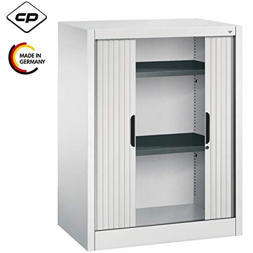 Bümö CP Omnispace rolluikkast afsluitbaar incl. planken - jaloeziekast archiefkast met rolluiken kantoorkast Höhe: 103 cm | Breite: 80 cm Lichtgrijs (Ral 7035)