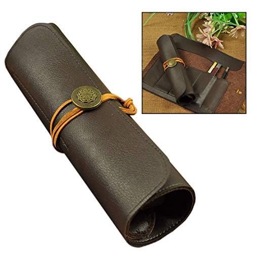 Xrten Bolsa de Rollo de Piel de Cuero PU Portátil con 5 Compartimentos para Cuchillo de Talla, Cinceles Herramientas ect