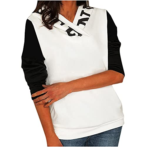 Orgrul Sudadera con capucha para mujer, de manga larga, suelta, de gran tamaño, 1A26, Blanco, L