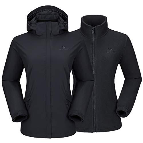 CAMELSPORTS Womens Winter Jacket Waterproof Warm Fleece 3 in 1 Ski Jacket Mountain Rain Coat Black